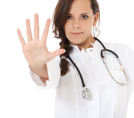 five fingers: Attractive medical student showing five fingers