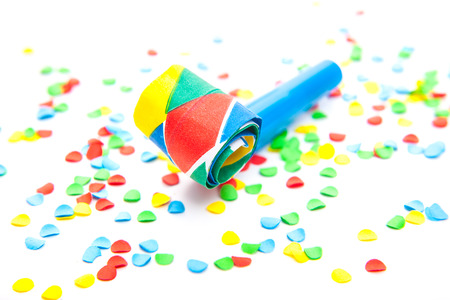 fasching: Party decoration on white background Stock Photo