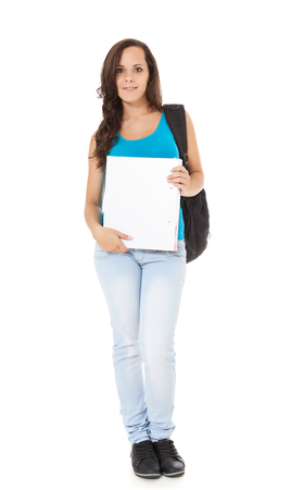 scandinavian descent: Attractive student standing in front of white background.