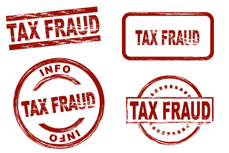 swindle: Set of stylized red ink stamps showing the term tax fraud. All on white background. Stock Photo