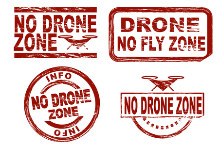 stamp collection: Set of stylized red stamps showing the term no drone zone