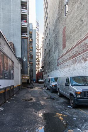 back alley: Dirty back alley in Manhattan New York City Editorial