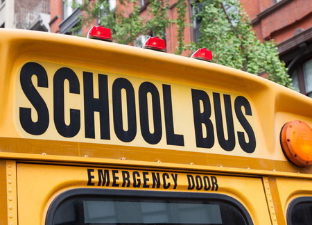 rear end: Rear end of NYC school bus Stock Photo