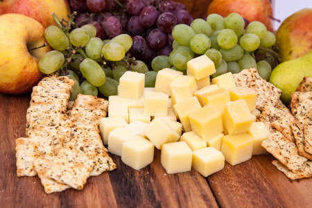served: Fine served cheese snack with crackers Stock Photo