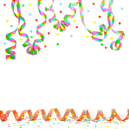 fasching: Paper streamer on white background