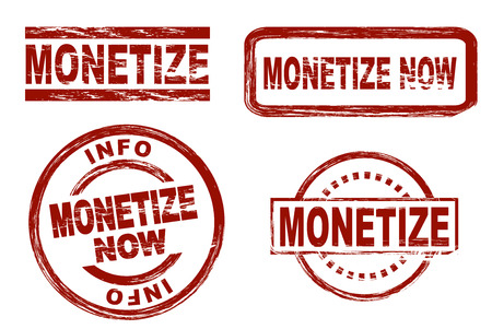 monetize: Set of stylized red stamps showing the term monetize Stock Photo