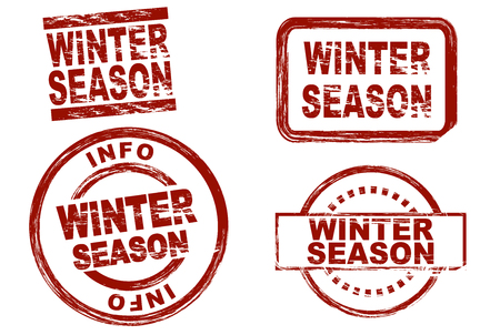 symbolical: Set of stylized red stamps showing the term winter season. All on white background Stock Photo