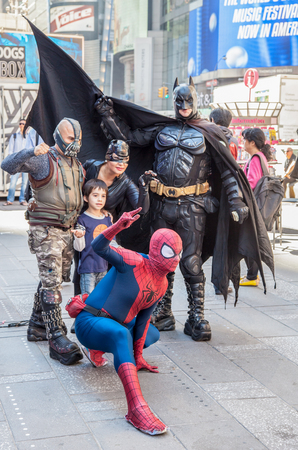times square: Superhero actors on Times Square New York City