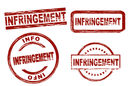 infringement: Set of stylized red stamps showing the term infringement. All on white background.