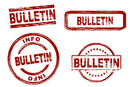 bulletin: Set of stylized stamps showing the term bulletin. All on white background. Stock Photo