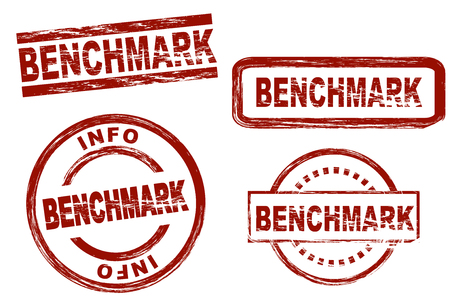 benchmark: Set of stylized stamps showing the term benchmark. All on white background.