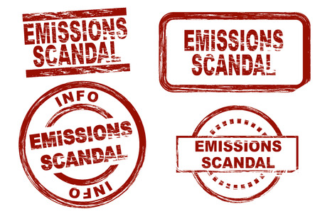 emissions: Set of stylized stamps showing the term emissions scandal. All on white background. Stock Photo