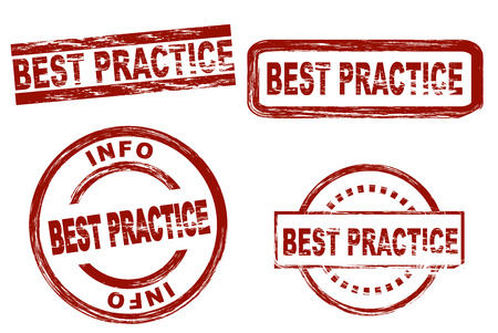 practice: Set of stylized stamps showing the term best practice. All on white background.