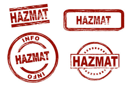 hazmat: Set of stylized stamps showing the term HAZMAT. All on white background.