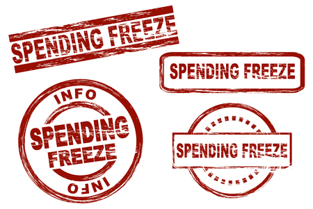 spending: Set of stylized stamps showing the term spending freeze. All on white background. Stock Photo