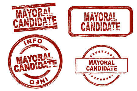 mayor: Set of stylized stamps showing the term mayoral candidate. All on white background.