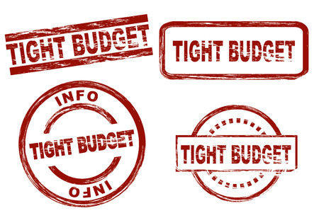 tight: Set of stylized stamps showing the term tight budget. All on white background.
