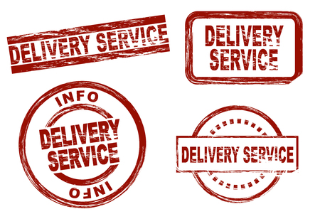 stamp collection: Set of stylized stamps showing the term delivery service. All on white background. Stock Photo