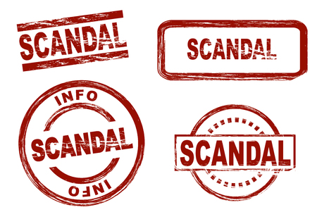 scandal: Set of stylized stamps showing the term scandal. All on white background.