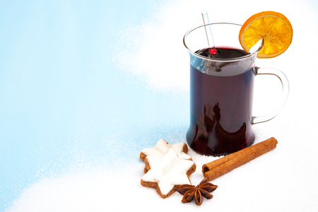 Fine served mulled wine on snow