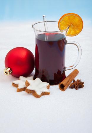 Fine German mulled wine on snow background