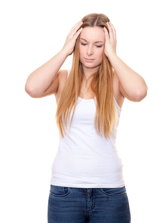 suffers: Attractive young woman suffers from headache. All on white background.
