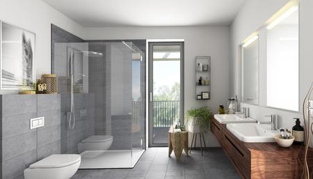 Salle de bain pierre naturelle grise Banque d'images