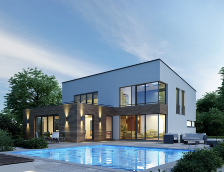 Modern villa with pool in the evening