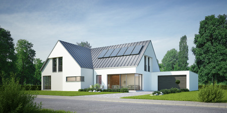 House with solar system on the day