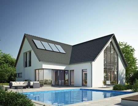 Casa moderna con piscina 2 Foto de archivo
