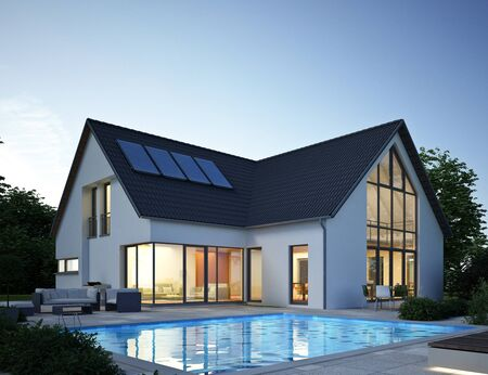 Modern house with pool 2 in the evening