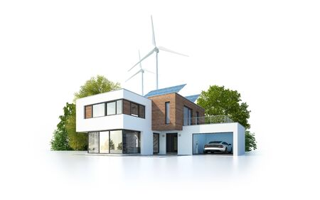 Isolated house with renewable energy Stockfoto - 131856677