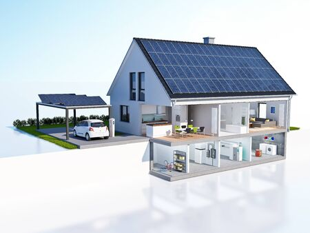 Sliced house with solar system Stockfoto