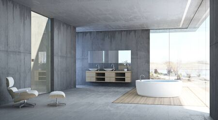 Modern bathroom with concrete walls 版權商用圖片