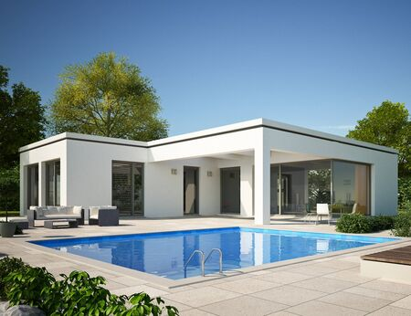 Modern bungalow with pool Stockfoto - 131856333