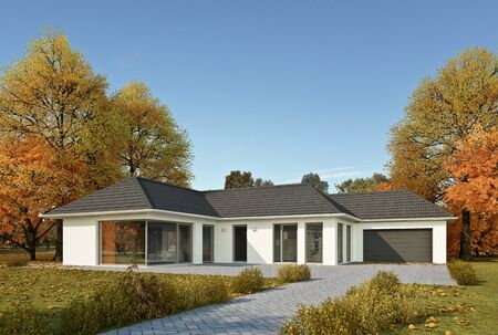 Modern bungalow in the autumn Imagens