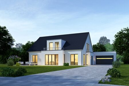 Modern house with garage in the evening Imagens