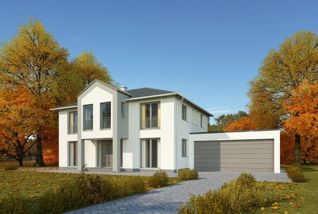 House in classic style with garage in autumn Standard-Bild