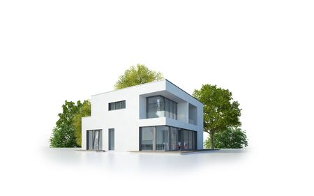 Isolated modern cubic house Standard-Bild