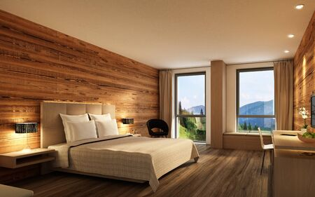 Hotel room with wooden walls