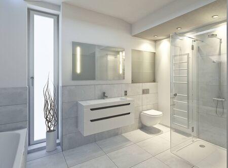 3d rendering of a bathroom Imagens