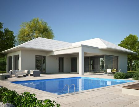 3d rendering of a modern bungalow with pool Standard-Bild