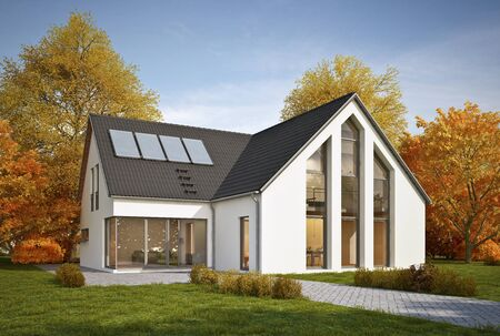 3d rendering of a modern house in autumn