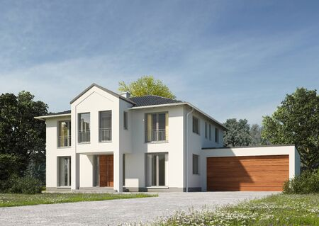3d rendering of a house in a classic style Standard-Bild