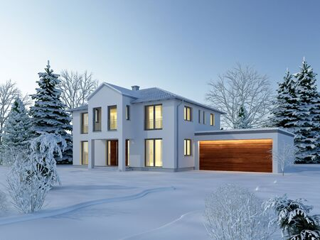 3d rendering of a house in classic style in the winter Standard-Bild