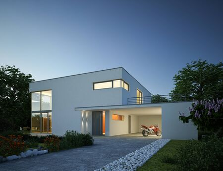 3d rendering of a modern villa in the evening Imagens