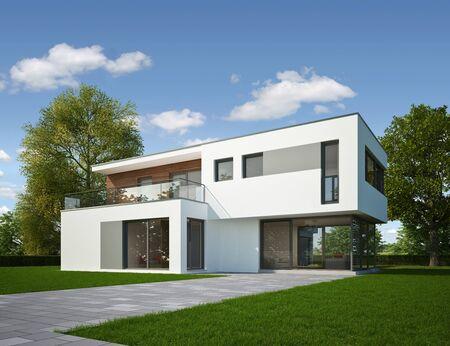 3d rendering of a modern villa Stock Photo