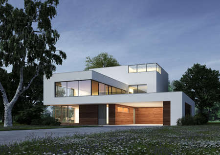 Modern cubic villa in the evening