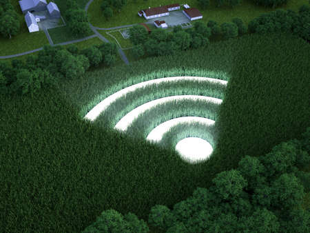 Luminous WiFi symbol in a grain field