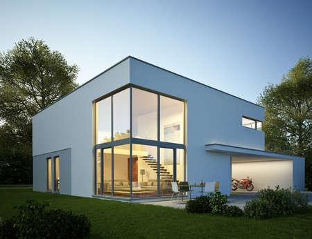 Modern cubic villa with garage Imagens